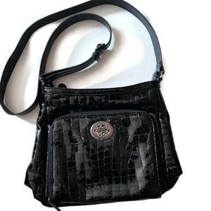 BRIGHTON Classic Croco black patent crossbody